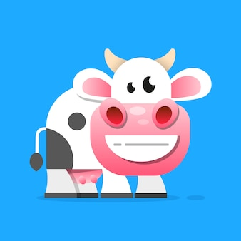 Kuh mit einem glas milch