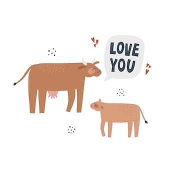 Kuh mit kalb. handgezeichnete vektor-illustration mit schriftzug. muttertier mit ihrem baby sagt liebe dich.