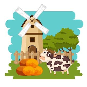 Kuh nahe bei heuballen in der bauernhofszene