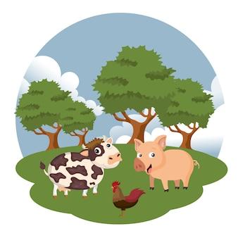 Kuh, schwein und hahn in der bauernhofszene
