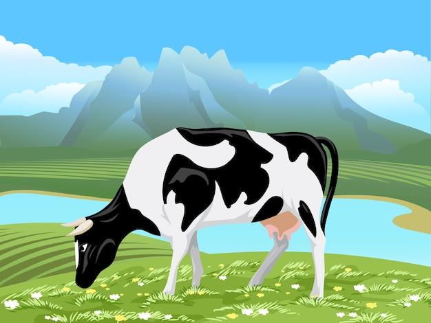 Kuh und ländliche wiesenlandschaft. kuh, die auf grünem feld mit blumen nahe dem fluss weidet