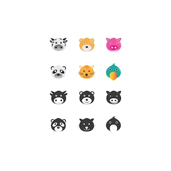 Kuh und tiere logo vorlage vektor icon illustration design