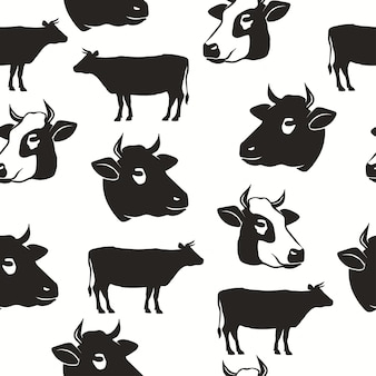 Kuhkopf nahtloses muster, silhouette des stiers, rinderhintergrund, landwirtschaftliche typografische designkulisse. vektor