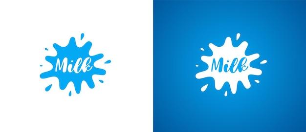 Kuhmilchproduktlogo. frisches, natürliches, milchiges markenidentitätslogodesign. molkerei-splash-zeichen für firmenzeichen-vektor-eps-illustrationen