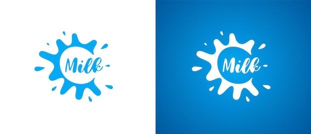 Kuhmilchproduktlogo. frisches, natürliches, milchiges markenidentitätslogodesign. molkerei-splash-zeichen für firmenzeichen vektor isoliert eps illustrationen