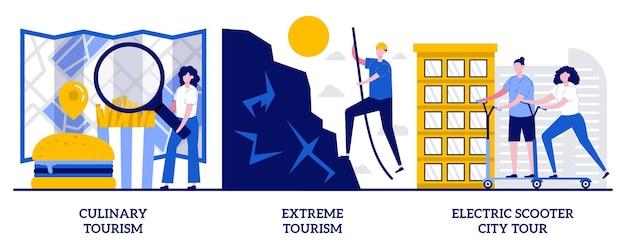 Kulinariktourismus, extremtourismus, elektroroller-stadtrundfahrtkonzept mit winzigen leuten. touristische abenteueraktivitäten, erholung, horizonterweiterung abstrakter vektorillustrationssatz.