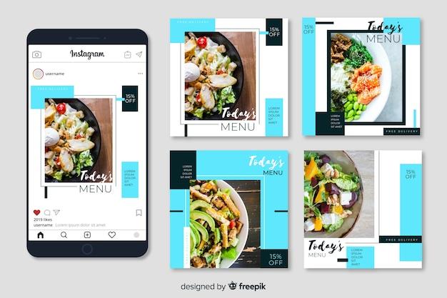 Kulinarische instagram beitragssammlung mit foto