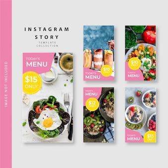 Kulinarische instagram geschichtenschablonensammlung