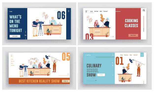 Kulinarische show, aufzeichnung der meisterklasse im landing page set der studio-website