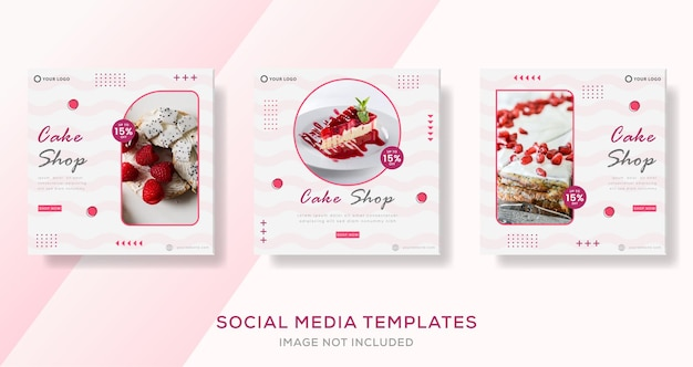 Kulinarische süßigkeiten kuchen banner für social media vorlage beitrag