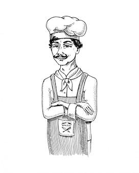 Kulinarischer chef oder koch, bäcker in der schürze. gravierte hand gezeichnet in der alten skizze und im vintage-stil für etikett und menü. innenraum der bäckerei. bio-lebensmittel.