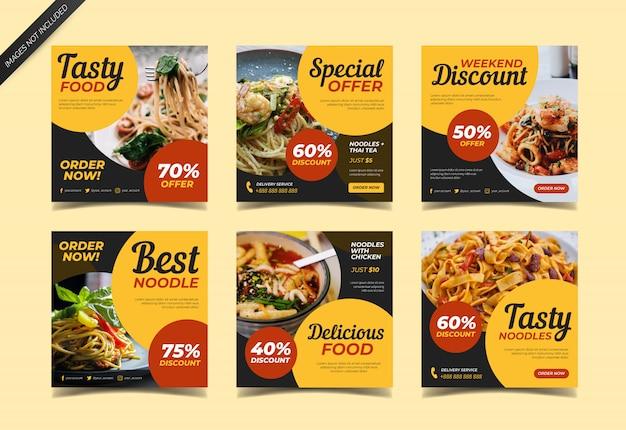 Kulinarischer instagram beitrag für lebensmittelrestaurant