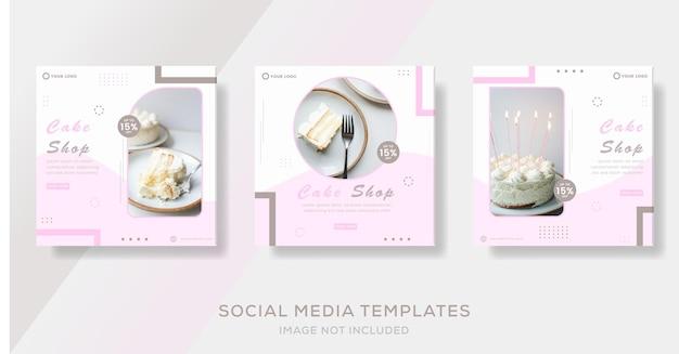Kulinarischer kuchenmenübanner für social media template post premium