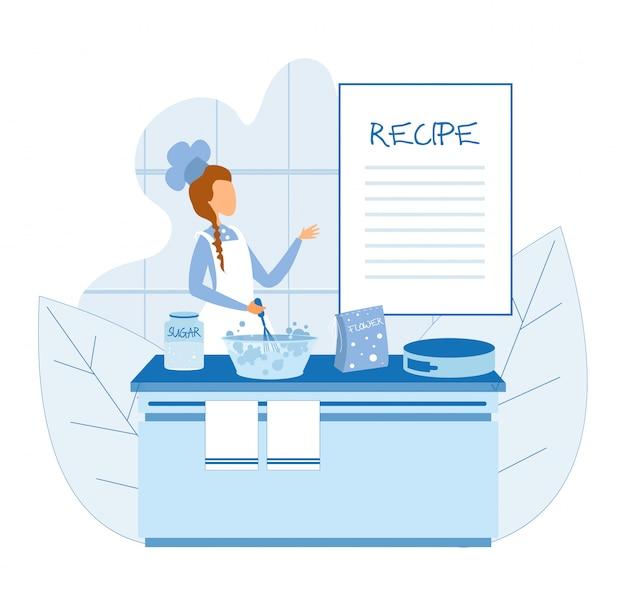 Kulinarischer spezialist, der kuchen mit rezept kocht
