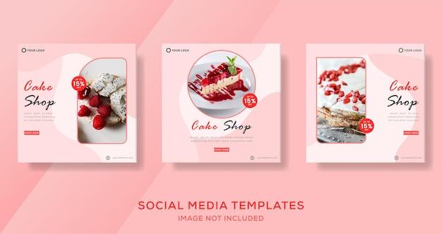 Kulinarisches kuchenbanner für social media template post premium