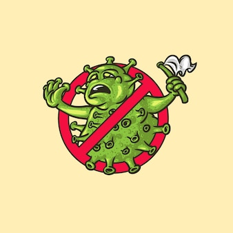 Kultiges symbol, das gegen coronavirus kämpft