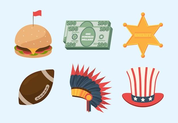 Kultur-set der vereinigten staaten von amerika