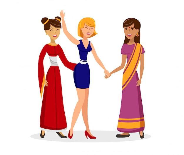 Kulturaustausch-flache farbvektor-illustration