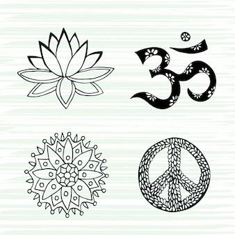 Kultursymbolvektorsatz. lotus, mandala, beschwörungsformel om und friedenszeichen übergeben gezogene sammlung.