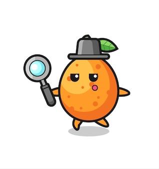 Kumquat-cartoon-figur, die mit einer lupe sucht, niedliches design für t-shirt, aufkleber, logo-element