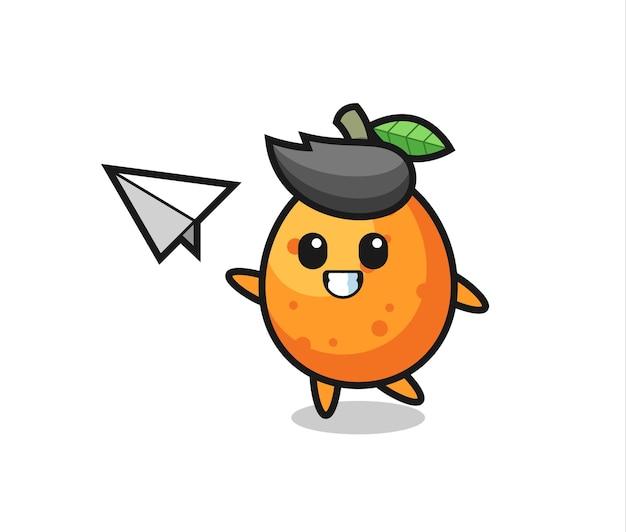 Kumquat-cartoon-figur, die papierflugzeug wirft, niedliches design für t-shirt, aufkleber, logo-element