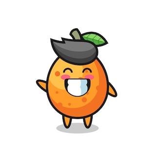 Kumquat-cartoon-figur, die wellenhandgeste macht, niedliches design für t-shirt, aufkleber, logo-element