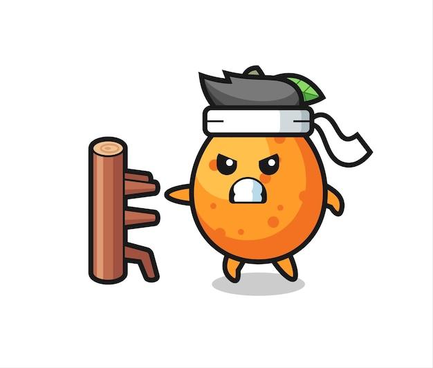 Kumquat-cartoon-illustration als karate-kämpfer, süßes stildesign für t-shirt, aufkleber, logo-element