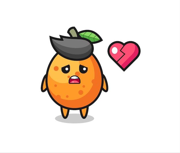 Kumquat-cartoon-illustration ist gebrochenes herz, niedliches design für t-shirt, aufkleber, logo-element