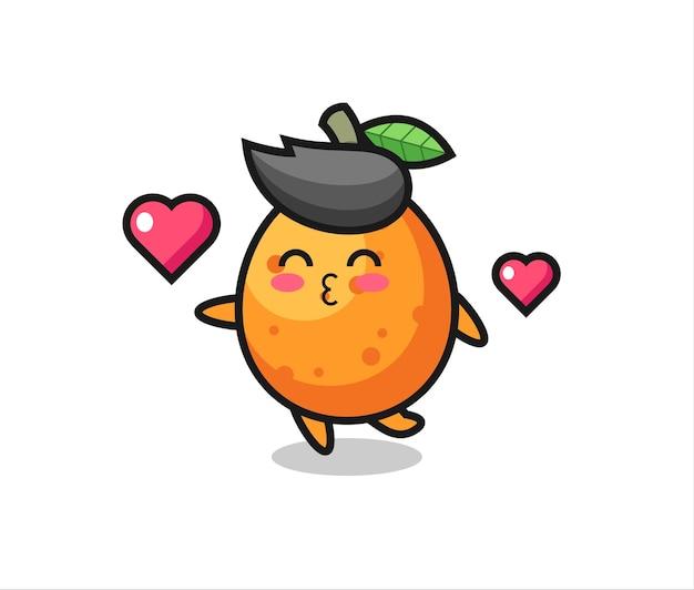 Kumquat-charakterkarikatur mit küssender geste, süßem stildesign für t-shirt, aufkleber, logo-element