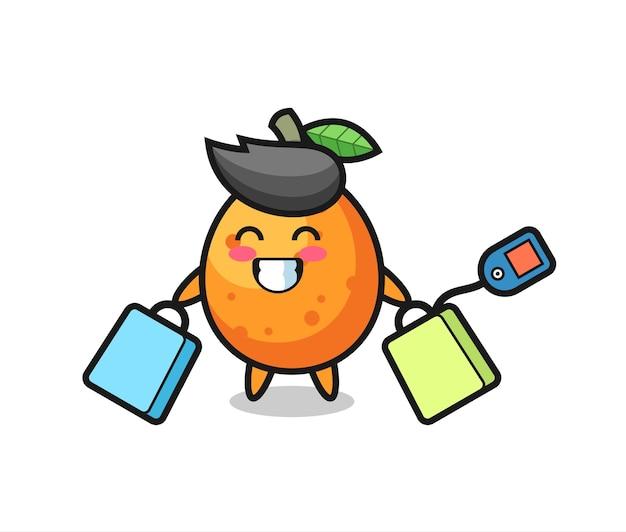 Kumquat-maskottchen-cartoon, der eine einkaufstasche hält, niedliches design für t-shirt, aufkleber, logo-element