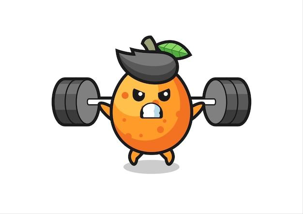 Kumquat-maskottchen-cartoon mit einer langhantel, süßes design für t-shirt, aufkleber, logo-element