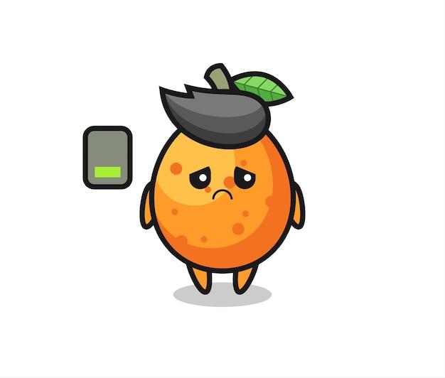 Kumquat-maskottchen-charakter, der eine müde geste macht, süßes stildesign für t-shirt, aufkleber, logo-element