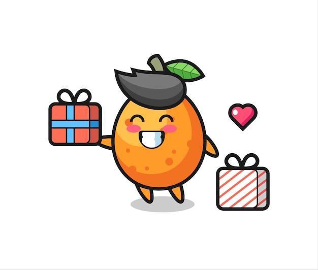 Kumquat-maskottchen-karikatur, die das geschenk gibt, niedliches design für t-shirt, aufkleber, logo-element