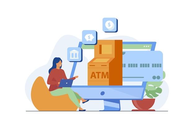 Kunde, der den online-bankdienst nutzt. frau, die computer für zahlungen und transaktionsflachvektorillustration verwendet. internet, finanzen, technologie