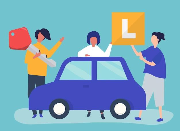 Kunde, der ein neues auto mit lng-gassystem kauft