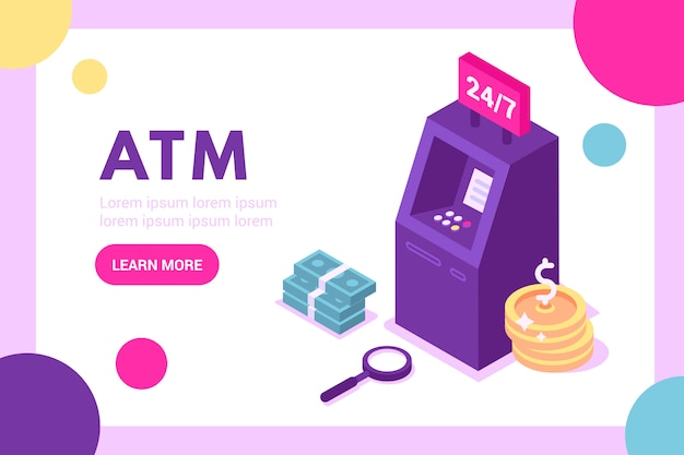 Kunde, der nahe geldautomat steht und kreditkartenillustration hält
