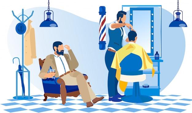 Kunde im anzug wartet in barbershop an die reihe