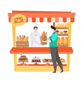 Kunde in der bäckerei, die frisches und biologisches brot oder kuchen kauft, lokalisiert auf weißer, flacher karikaturillustration des lokalen marktes.