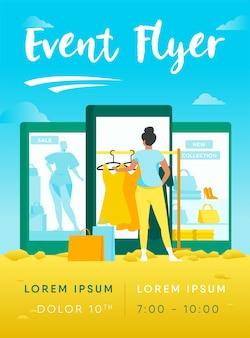 Kunde kauft stoff auf internet store flyer vorlage
