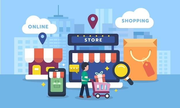 Kunde mit eingestellten ikonen des on-line-einkaufens