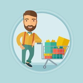 Kunde mit einkaufswagen voller geschenkboxen