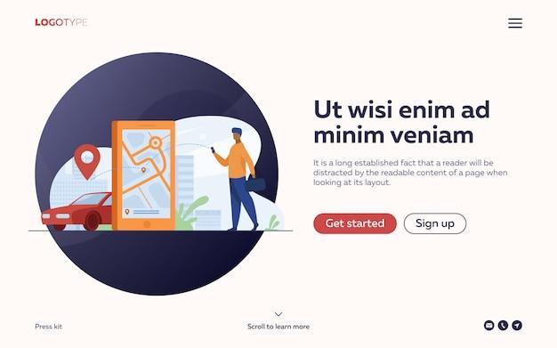 Kunde nutzt online-app für taxibestellung oder mietwagen