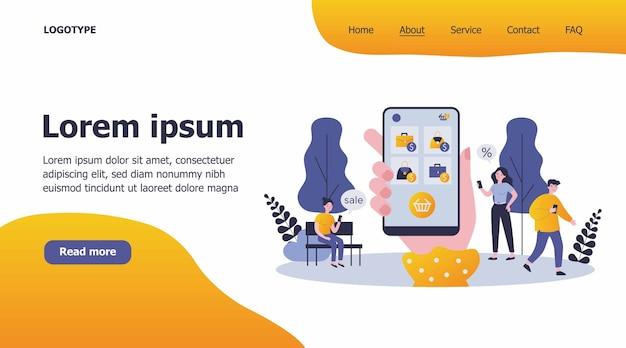 Kunden, die handy für online-shopping-illustration verwenden