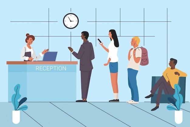 Kunden, die in der flachen vektorillustration der warteschlange warten