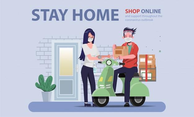 Kunden, die während covid-19 online einkaufen. bleiben sie zu hause und vermeiden sie die verbreitung des coronavirus.