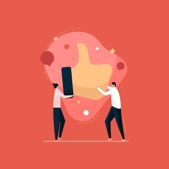 Kunden geben qualitätsfeedback, social media review-konzept