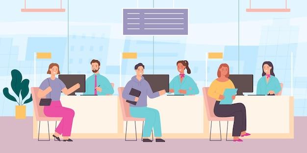 Kunden in der bank. kundenservice-schalter mit personal- und finanzmanagern. bankbüroraum mit arbeiter. flaches vektorkonzept für kreditanfragen. mitarbeiter, die mann und frau helfen