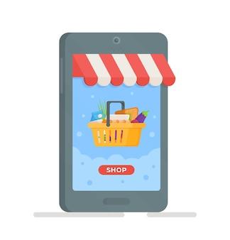 Kunden kaufen bei online-verkauf flache illustration. sonderangebot, rabattkonzept. online-shopping-konzept in der app und auf der website.