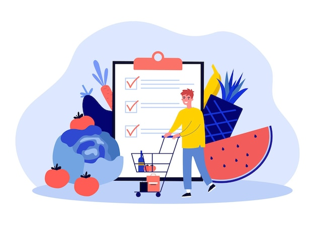 Kunden kaufen lebensmittel mit checkliste. kleiner mann mit flacher vektorillustration der supermarktlaufkatze. einkaufslisten-app für lebensmittelgeschäft-konzept für banner, website-design oder landing-webseite