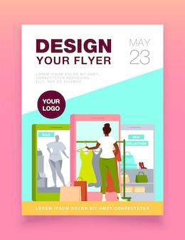 Kunden kaufen stoff auf internet store flyer vorlage